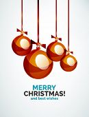 Christmas ball, bauble, New Year Concept, Greeting card or Invitation Template