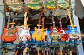 Copies Of Famous Musicians Guitars Are Sold At The Gift Shop In San Marino. The Republic Of San Mari
