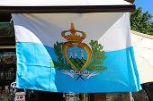Flag Of San Marino Is Sold In Gift Shops. The Republic Of San Marino