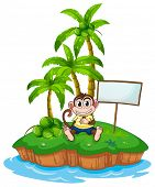 A monkey in the island with an empty signboard on a white background
