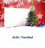 Christmas greeting card order against poster with christmas tree