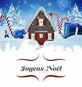 picture of candy cane border  - Christmas greeting card against christmas house with gifts and candy canes - JPG