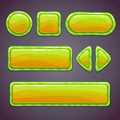Set of green funny buttons