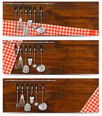 Set Of Banners With Kitchen Utensils