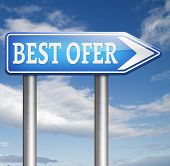 best offer and price promotion and bargain sale