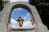 the johann strauss monument in vienna's city park.