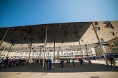MARSEILLE, FRANCE - APRIL, 23: Norman Foster's pavilion with mirrored ceiling in Marselle. April, 23, 2014