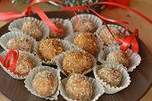 Homemade chocolate truffles with nuts Christmas dessert