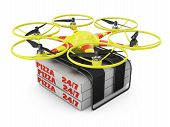 foto of take out pizza  - Flying drone to which are attached three boxes of pizza - JPG