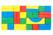 Wall Made Of Wooden Blocks