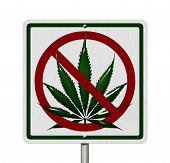 image of marijuana leaf  - Driving Under the Influence of Marijuana A road highway sign with a marijuana leaf isolated on white - JPG