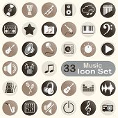 Set of round music icons