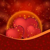 Romantic Valentine Day Shiny Card With Red Hearts