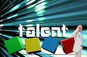 The word talent and thinking businessman against abstract turquoise glowing background