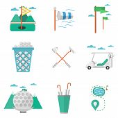 Flat colored vector icons for golf