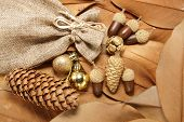 brown christmas background with leafs,pouchand acorns
