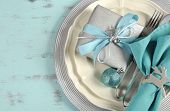 Modern Christmas Table Place Settings In Aqua Blue, Silver And White Theme, On Recycled Wood Backgro