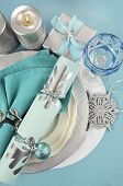 Modern Christmas Table Place Settings In Aqua Blue, Silver And White Theme. Vertical.