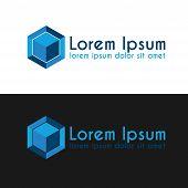 Blue cube logo template