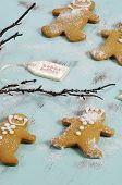 Merry Christmas Festive Baking Concept With Gingerbread Cookies On Vintage Style Recycled