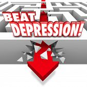 Beat Depression 3d words on a maze and arrow breaking through the wall to illustrate overcoming the mental illness, condition, disorder or disease