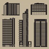 Buildings Set With Skyscrapers And Hotels