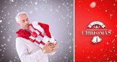 happy festive man with gifts against red vignette