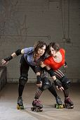 Female Roller Derby Skaters Posing