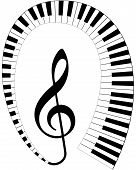 treble clef with keyboard