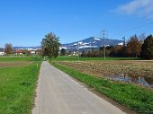 Country Road And Snow Capped Hill