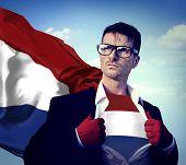 Businessman Superhero Country Netherlands Flag Culture Power Concept