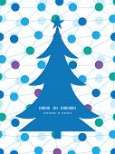 Vector connected dots Christmas tree silhouette pattern frame card template