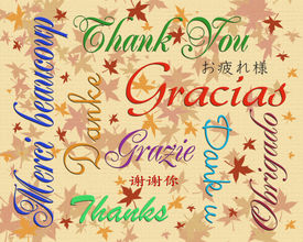 picture of thank you note  - Illustration composition of the words Thank you written in many languages for thank you note - JPG