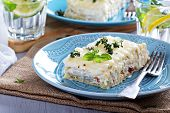 stock photo of lasagna  - White chicken cheese lasagna with sun dried tomatoes - JPG