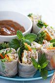 stock photo of egg noodles  - Summer rolls with soba noodles - JPG