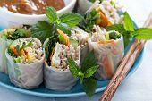 picture of egg noodles  - Summer rolls with soba noodles - JPG