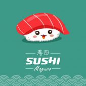 stock photo of chinese menu  - Vector sushi cartoon character illustration - JPG