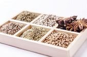 image of oblique  - oblique six-blocks wooden frame collection of spices