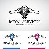 stock photo of swirly  - Glossy Swirly Royal Icon Vector Illustration - JPG