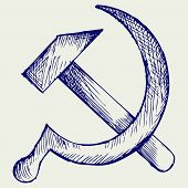 stock photo of hammer sickle  - Hammer and sickle - JPG