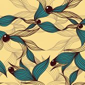 picture of beads  - Floral abstract background with leaves and beads - JPG