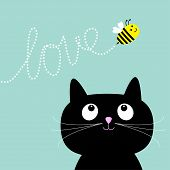 pic of black cat  - Cute cartoon cat - JPG