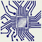 stock photo of microchips  - Motherboard with microchip - JPG