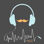 stock photo of moustache  - Blue headphones with cord - JPG