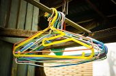 image of clothes hanger  - Close up of old clothes hangers - JPG