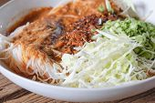 stock photo of thai food  - Thai rice vermicelli served with curry it is local Thai food - JPG
