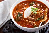 image of ground-beef  - Lasagne soup with ground beef - JPG