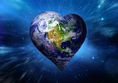 image of outer  - Heart shaped earth against outer space - JPG