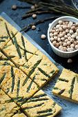 image of chickpea  - Home made chickpea pie also know as socca with wild asparagus - JPG