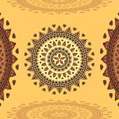 pic of east-indian  - Circular ornament on beige Background for design elements  or for decoration  interior in east or in Indian or in Arabic style or for decorate different things - JPG